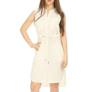 Ivory Drawstring Waist Sleeveless Boyfriend Dress
